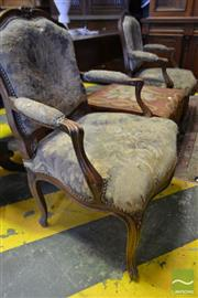 Sale 8520 - Lot 1060 - Pair of Louis XV Style Carved Beech Armchairs, upholstered in tapestry fabric & on cabriole legs