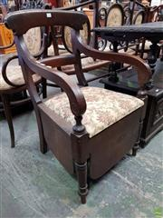 Sale 8576 - Lot 1073 - Victorian Oak & Mahogany Commode Chair, with rail back, loose seat & deep apron
