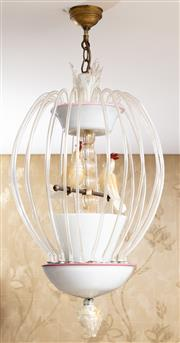 Sale 8703A - Lot 34 - An impressive Murano bird cage form light fitting with two aventurine cockatiels, total drop 85cm approx (damage to finial)