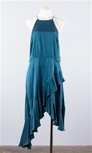 Sale 8760F - Lot 111 - A Zimmermann sleeveless halterneck sun dress with cascading fluted hems in a teal raw-silk satin, size 3