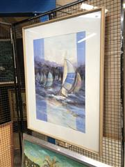 Sale 8803 - Lot 2073 - Lorraine James - Sail Boats in the Harbour mixed media on paper, 140 x 90cm, signed lower right