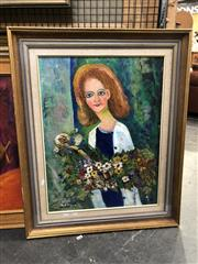 Sale 8841 - Lot 2062 - Artist Unknown - Oil - Flower Girl SLL