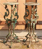 Sale 8871H - Lot 40 - A pair of cast iron plant stand. Height 79cm, Width 32cm