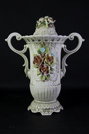 Sale 8948 - Lot 94 - Capodiomonte Lidded Urn (some small chips to flowers) H: 48cm