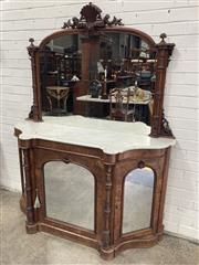 Sale 9068 - Lot 1002 - Victorian Burr Walnut Credenza, the arched mirror back with shell crest & turned columns, above a white shaped marble top & three ar...