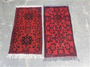 Sale 9063 - Lot 1020 - Pair of Hand Knotted Pure Wool Persian Doormats (60 x 90cm)