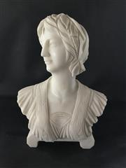 Sale 9080G - Lot 45 - Carved Marble Bust .General Wear ,Consists of 2 Parts (Base and Bust ).Size 26cm H .