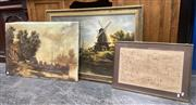 Sale 9091 - Lot 2096 - A group of assorted paintings including early Dutch scenes and a coastal scene, together with a retro psychedelic work,  ink on paper