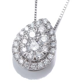 Sale 9123J - Lot 298 - A 10CT WHITE GOLD DIAMOND PENDANT NECKLACE; pear shape cluster set with 29 round brilliant cut lab grown diamonds totaling approx. 0...