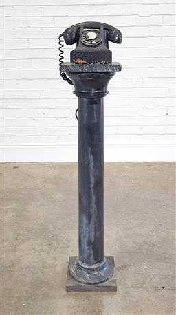 Sale 9215 - Lot 1043 - Black Marble Pedestal together with a Black Bakelite Telephone, the pedestal with turned shaft & square top and plinth (h:102cm)