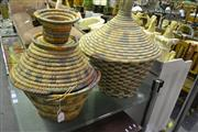 Sale 8058 - Lot 1058 - Group of 6 African Lidded Baskets: 2 large, 4 small.