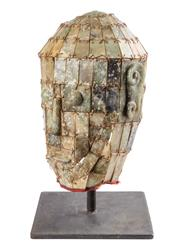 Sale 8536 - Lot 9 - An oriental antique jade burial mask, H 37cm (inc.stand)