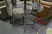 Sale 8326 - Lot 1217 - Round Glass Top Table On Metal Base