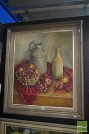 Sale 8525 - Lot 2012 - Artist Unknown, Still Life - Fruit and Earthenware acrylic on canvas, 60 x 50cm, signed lower right