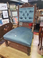 Sale 8648C - Lot 1080 - Carved Back Timber Chair with Blue Buttoned Upholstery