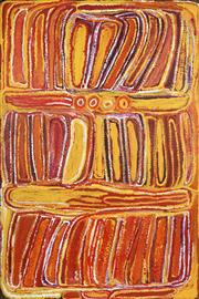 Sale 8743 - Lot 533 - Eubena Nampitjin (1921 - 2013) - Canning Stock Route, Near Koonawarritji, 1998 180 x 120cm (stretched and ready to hang)