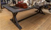 Sale 8709 - Lot 1034 - A black painted timber dining table with black marble insert on cross end stretcher supports, H x 75cm, L x 264cm, W x approx 108cm