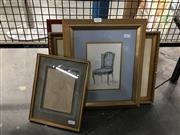 Sale 8752 - Lot 2098 - Collection of (4) Artworks incl a Pencil Drawing, Hand Coloured Etching and Prints