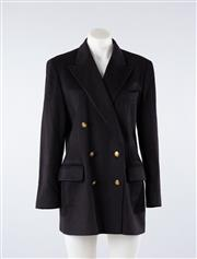 Sale 8760F - Lot 186 - An Escada by Margaretha Ley navy cashmere double breasted blazer, size 38