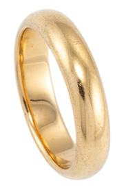 Sale 8915 - Lot 334 - AN ANTIQUE 18CT GOLD FAIRFAX AND ROBERTS WEDDING BAND; 4.2mm wide half round band size J1/2, wt. 5.37g, in original box.