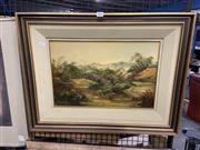 Sale 8914 - Lot 2049 - Norman Robbins - 'Blue Hills', oil on board, 29 x 44.5cm, signed lower left -