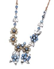 Sale 8974 - Lot 359 - A VINTAGE 9CT TRICOLOUR GOLD SAPPHIRE AND PEARL NECKLACE; floral clusters of round cut fine blue sapphires and seed pearls in yellow...