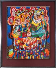 Sale 9045 - Lot 2099 - Ann Taylor (1943-) - Breaking the Fast, 1976 68 x 54cm (frame: 90 x 72 x 3cm)