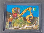 Sale 9024 - Lot 2060 - Artist Unknown - Abi the Traffic Controlla and Excavator, 55x71cm