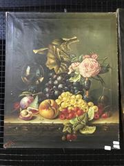 Sale 9045 - Lot 2021 - An Early Dutch Style Still Life oil Painting initialled R.V.R lower left 61 x 51cm