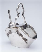 Sale 9080J - Lot 158 - A Philip Ashberry & Sons silverplate sugar hod and scoop C: 1900, embossed with floral and feathered scrolls. Ht: 18.5cm