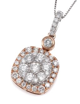 Sale 9123J - Lot 299 - A 14CT GOLD TWO TONE DIAMOND CLUSTER PENDANT NECKLACE; featuring a rose gold plated cushion shape pendant centring a target cluster ...
