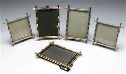 Sale 9153 - Lot 44 - A collection of 5 Bamboo Pattern Metal Photo Frames (Smallest 13cm x 13cm, Largest 14cm x 19cm, Two missing glass)