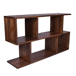 Sale 9140F - Lot 100 - A low brown open bookcase made from fruitwood. Dimensions: W166 x D46 x H99 cm