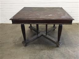 Sale 9151 - Lot 1330 - Rustic timber dining table on X base - 230 (h76  x w116 x d113cm)