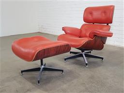 Sale 9151 - Lot 1319 - Eames style lounge chair and footstool (h:86 x w:32 x d:64cm)