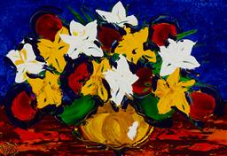 Sale 9178 - Lot 587 - DEAN VELLA (1958 - ) Mixed Flowers on Blue oil and acrylic on board 50 x 74.5 cm (frame: 101 x 125 x 5 cm) signed lower left