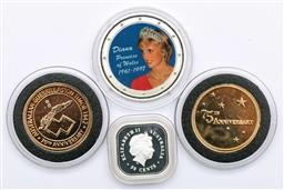 Sale 9173 - Lot 74 - A collection of coins incl square silver kookaburra, Princess Di medallion, Anniversary medallions