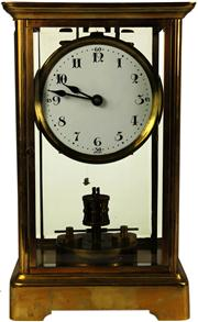 Sale 8065 - Lot 47 - German 400 Day Crystal Regulator Disc Pendulum Clock