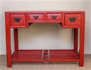 Sale 8259A - Lot 75 - A Chinese Red Lacquered Scholars Table, modelled with a selection of short drawers, and slatted foot rest below, w 112.5cm d 58cm h...