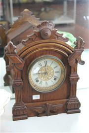 Sale 8276 - Lot 70 - Ansonia Oak Mantle Clock (AF)