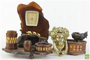 Sale 8466 - Lot 30 - Brass Deco Door Knocker with Organic Clock and Chinese Metal Ware