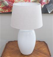 Sale 8470H - Lot 132 - A pair of contemporary white table lamps with beige linen shades, total H 65cm