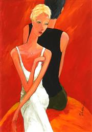 Sale 8475 - Lot 579 - Marek Wilinski (1949 - ) - Woman in White Satin Dress 78.5 x 55cm
