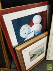 Sale 8495 - Lot 2048 - Various Artists (3 works) - Landscape; Family Portrait; Bunnys Friend various sizes