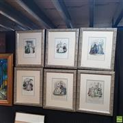 Sale 8636 - Lot 2052 - Collection of (6) C19th Parisian Vogue hand-coloured engravings, (frame: 53 x 44.5cm)