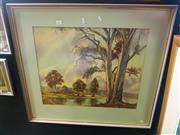 Sale 8650 - Lot 2051 - Theo Kielly - Cattle by the River, Watercolour, SLL, 46.5x57.5cm