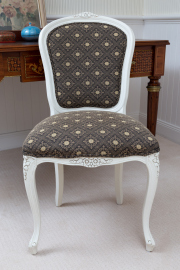 Sale 8677B - Lot 866 - A French spoon back chair with smart upholstery, Height of back 97cm