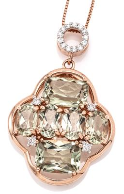 Sale 9132 - Lot 362 - A 14CT ROSE GOLD DIAMOND AND GEMSET PENDANT NECKLACE; quatreform frame set with 4 oval and 2 rectangular cushion cut pale peridots a...