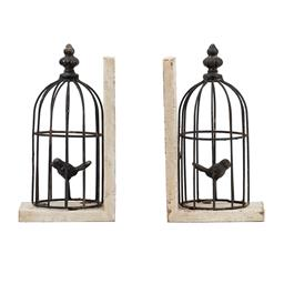 Sale 9140F - Lot 101 - A set of 2 Birdcage Bookends formed out of black weathered iron, containing a small songbird perched within. The fir wood is finishe...