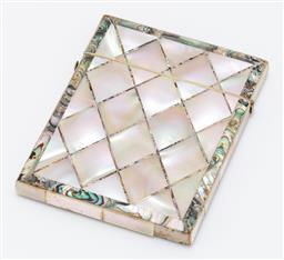 Sale 9180E - Lot 89 - A mother of pearl and paua shell framed card case, Length 10.5cm x 8.5cm  some minor loss
